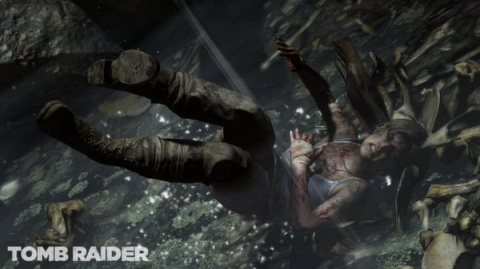 Lara Croft falling in the upcoming Tob Raider game