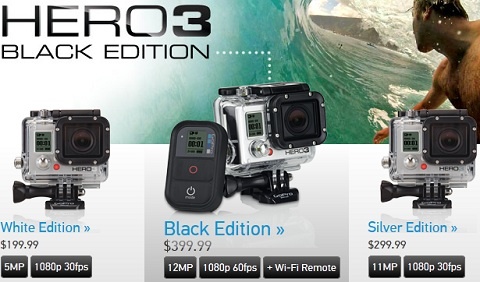 HD HERO3 camera line up