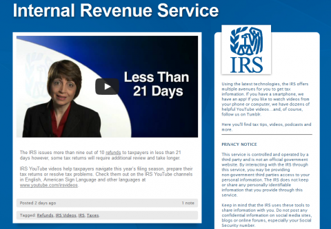IRS Tumblr Website