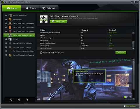 NVIDIA GeForce Experience software