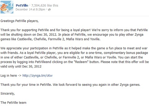 PetVille Game Closed