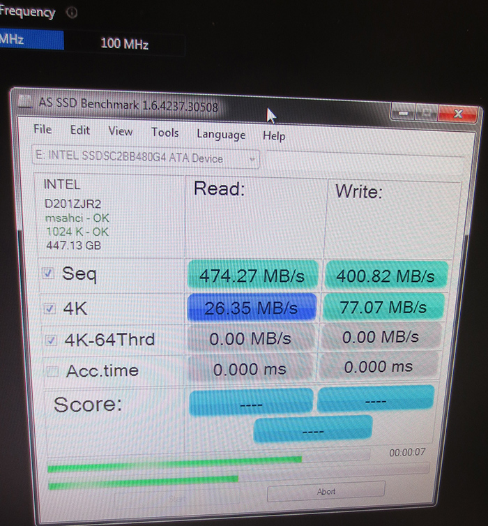 Intel SSD Overclocking Default Performance