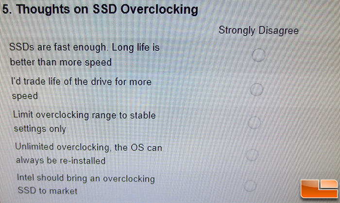 Intel SSD Overclocking Survey Questions