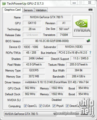 NVIDIA GeForce GTX 780 Ti GPU-Z Shot
