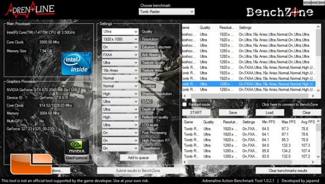 Alienware X51 Tombraider Benchmark Results