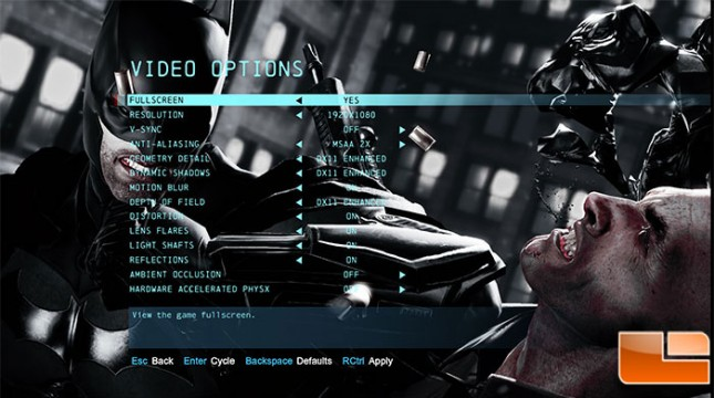 R7950 Batman Origins Settings