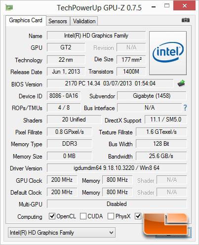 GIGABYTE BXPi3-4010 PC & Projector GPUz