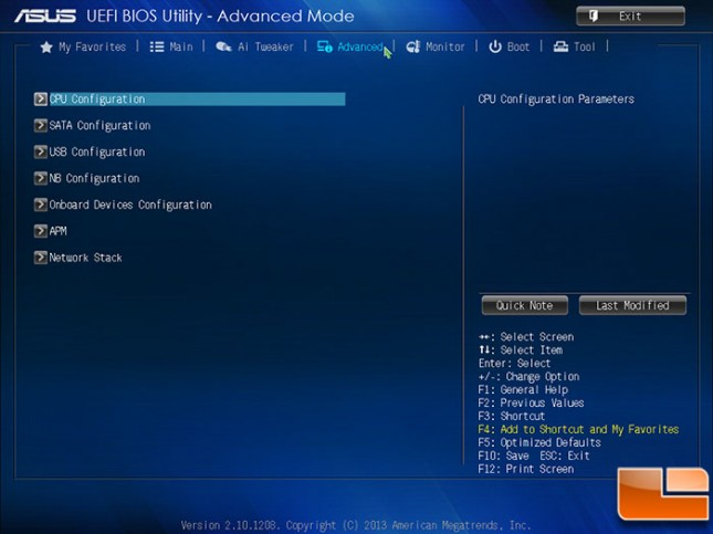ASUS A88X-PRO BIOS Advanced Menu