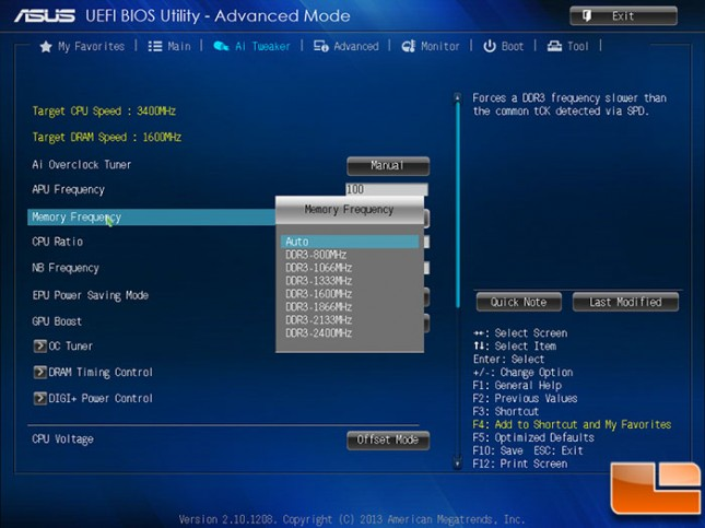 ASUS A88X-PRO DDR3 Frequency