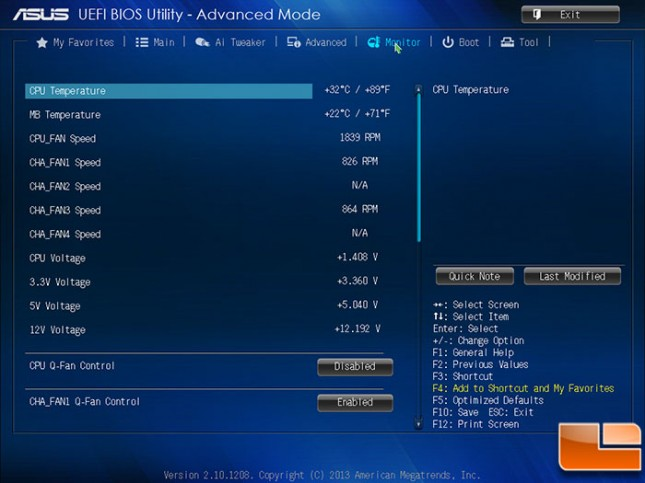 ASUS A88X-PRO BIOS Monitor