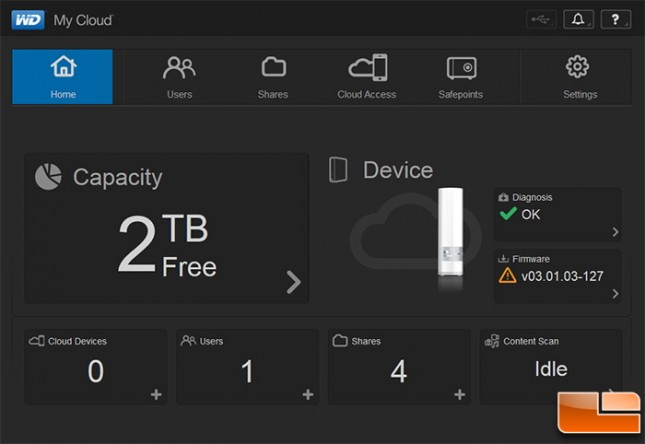 WD My Cloud GUI