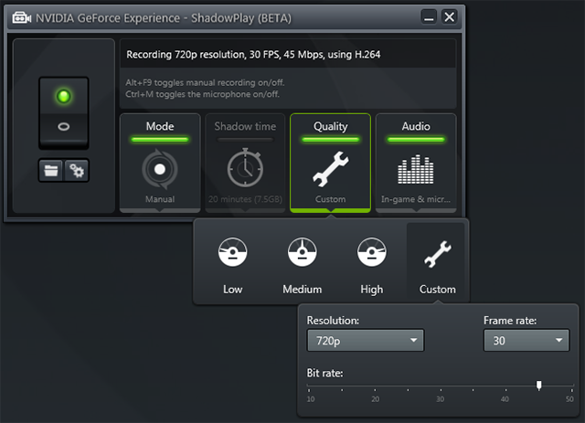 NVIDIA GeForce Experience 1.8.2 Shadowplay Beta 8