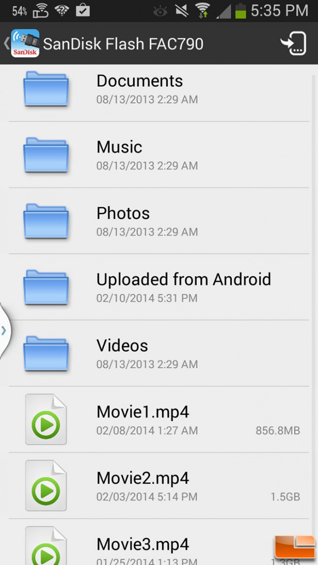 SanDisk Android App Folder View