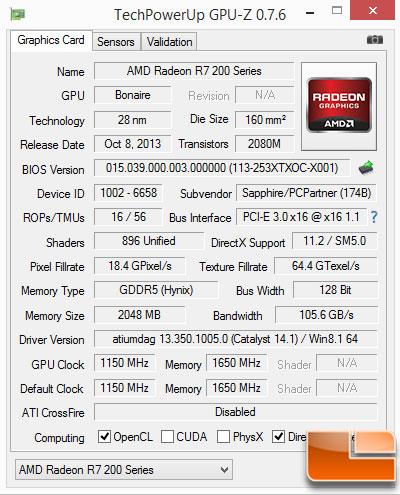 Sapphire R7 260X GPU-Z Base