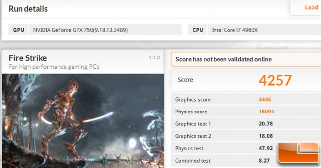 GeForce GTX 750 1GB 3DMark Overclocked