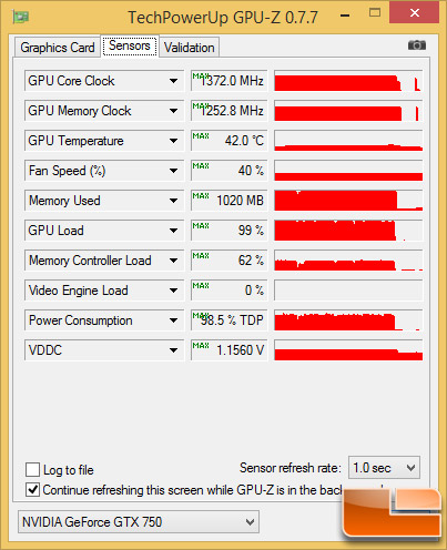 EVGA GeForce GTX 750 SC Load