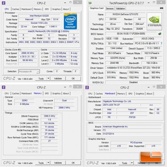Intel Pentium G3220 System Settings