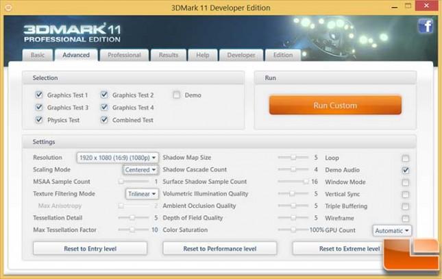 AMD Mullins 3DMark 11 Setrtings