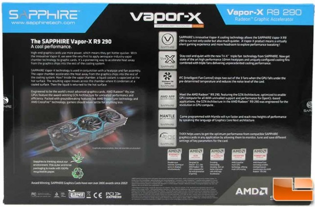 Sapphire Vapor-X R9 290 OC Box Back