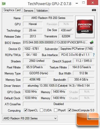 Sapphire Vapor-X R9 290 GPU-Z Info