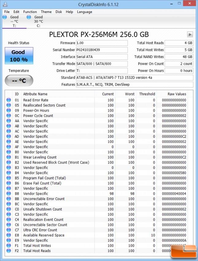 Plextor M6M Crystal Disk Info