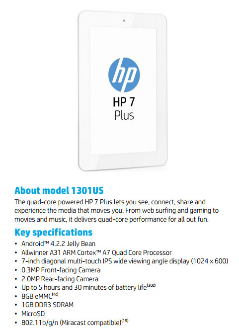 HP 7 Plus Android Tablet Is Just $99