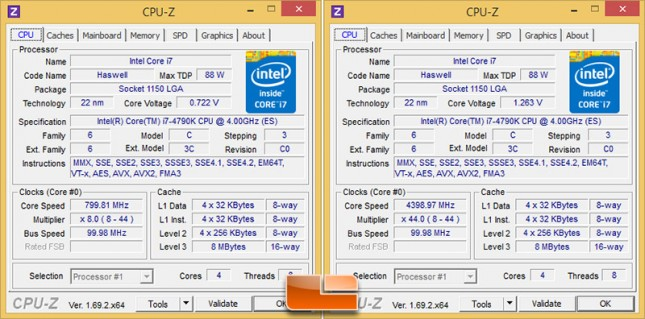 Intel Core i7-4790K CPU Clocks