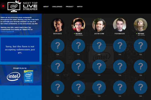 Intel Next Top Live Streamer