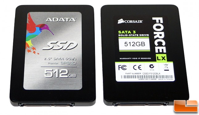 ADATA SP610 512GB and Corsair Force LX 512GB SSDs