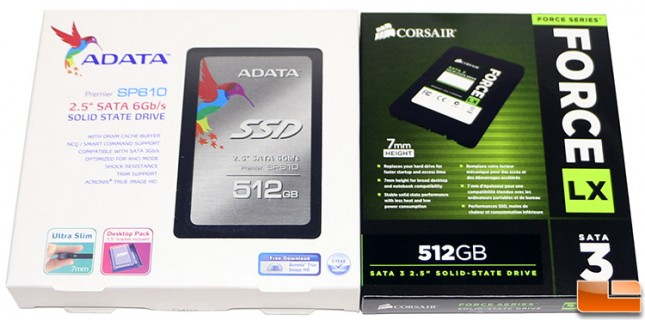 ADATA SP610 and Corsair Force LX SSDs