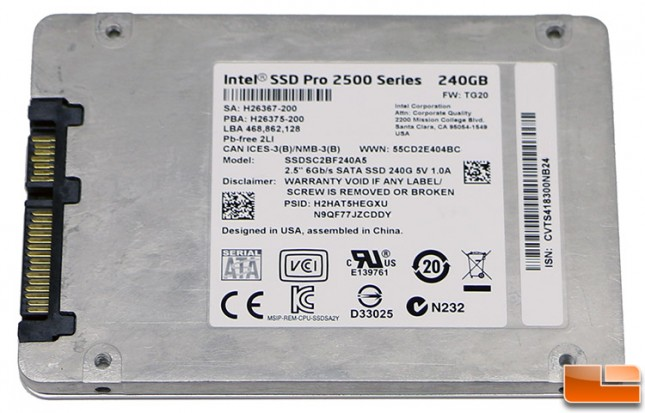 Intel SSD Pro 2500 Series 240GB SSD Label
