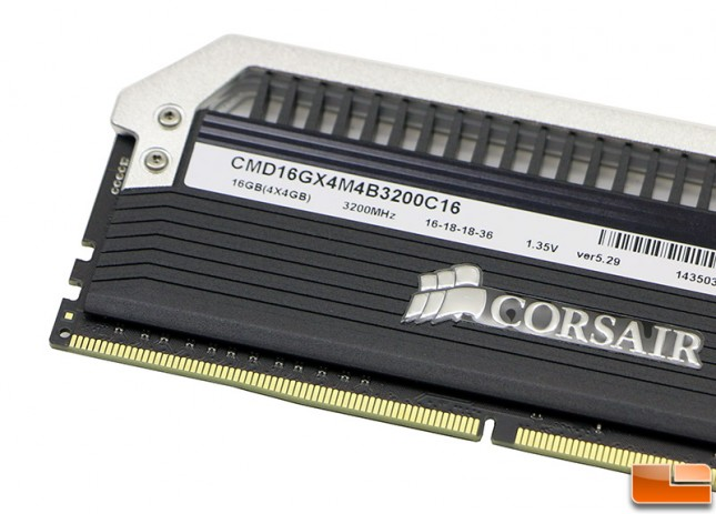 Corsair Dominator Platinum DDR4 3200MHz Memory Kit Label