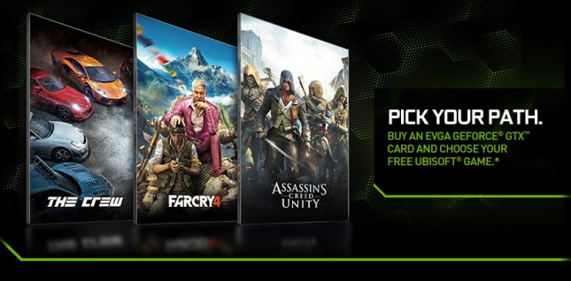 Pick Your Path: EVGA GTX Game Bundle – Get Assassin's Creed Unity, Far Cry 4, or The Crew for Free