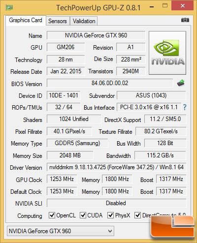 GTX 960 GPU-Z