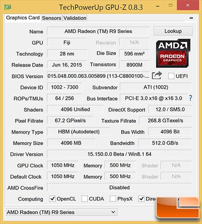 Radeon R9 Fury X GPU-Z