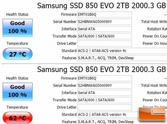 Samsung SSD 850 EVO Temps