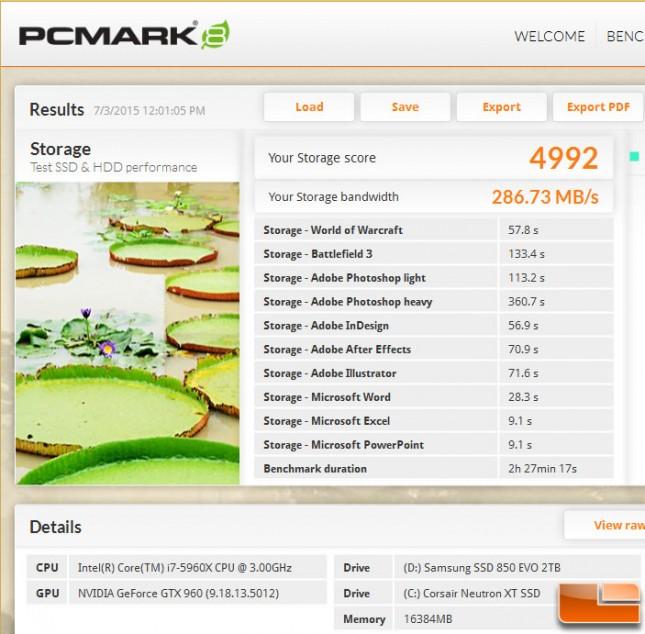 PCMark 8 Storage Test Samsung 850 EVO 2TB