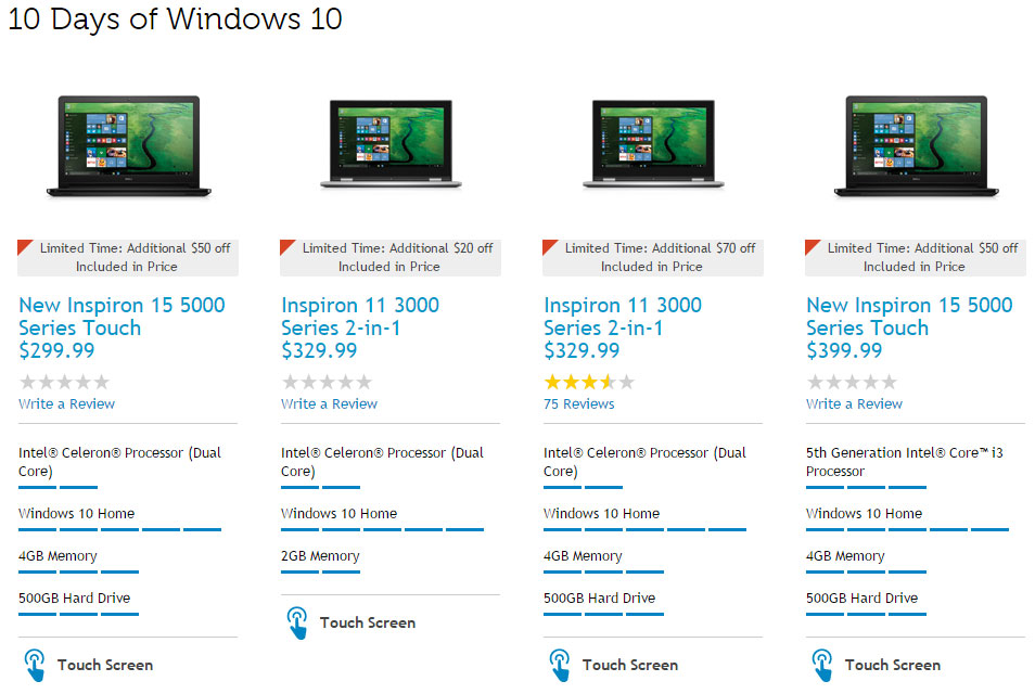 Dell Has 70 Laptops and Desktops With Windows 10 For Sale