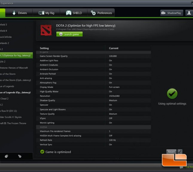MOBA GeForce Experience