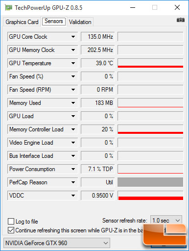 EVGA GeForce GTX 960 Idle Temps