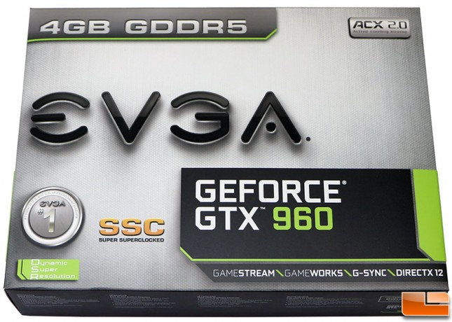 EVGA GeForce GTX 960 SSC 4GB Video Card Box