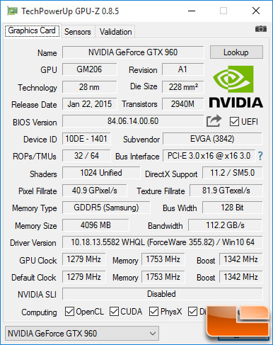 EVGA GeForce GTX 960 GPU-Z