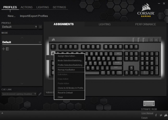 01 - Corsair Strafe RGB - Profiles - Assignments