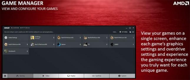 AMD Radeon game manager