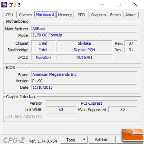 ASRock Z170 OC Formula CPUID