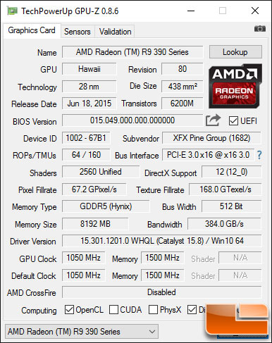 XFX Radeon R9 390 GPU-Z