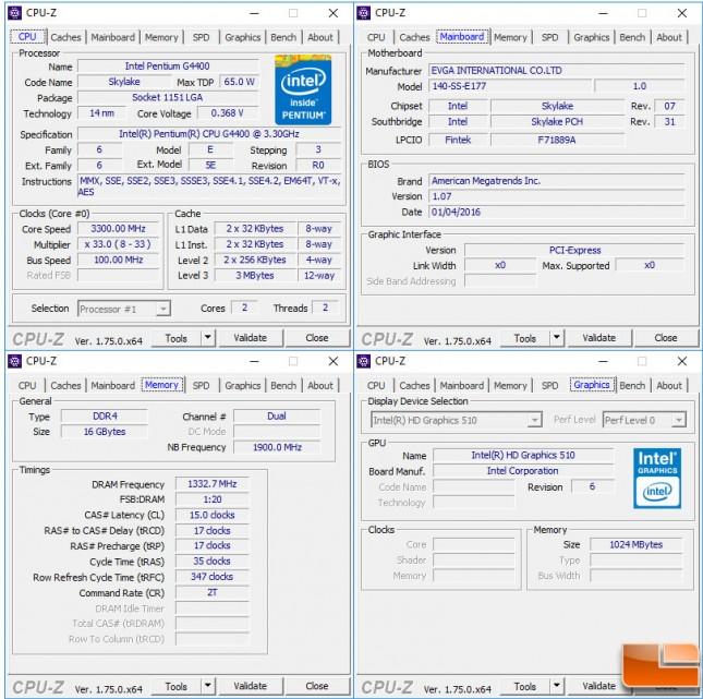 Intel Pentium G4400 CPUz