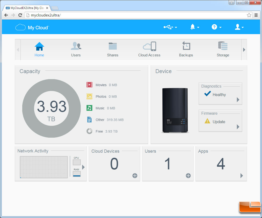 WD My Cloud EX2 Ultra NAS Review - Page 3 of 5 - Legit ReviewsWD My Cloud EX2 Ultra Admin Panel