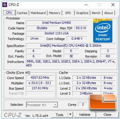 Intel Pentium G4400 CPU-Z Overclocked