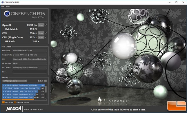 NUC6i5SYK Cinebench